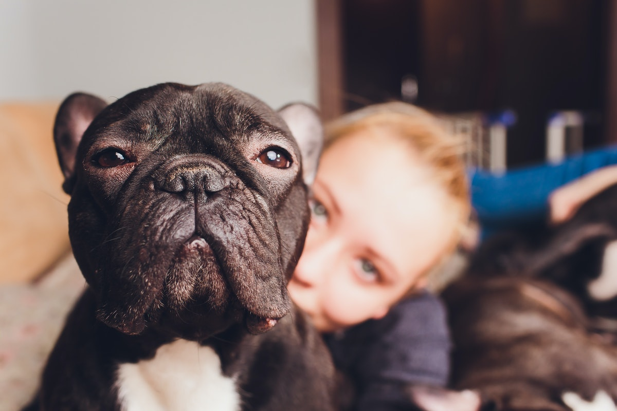A blonde woman cuddles with her French bulldog.