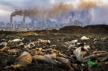 Toxic waste from human hands Industries that create pollution and cities that are affected by pollut...