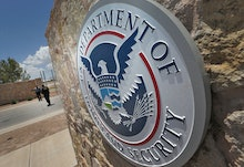 Federal agents block the main gate at the port-of-entry, along the international border in Fabens, T...