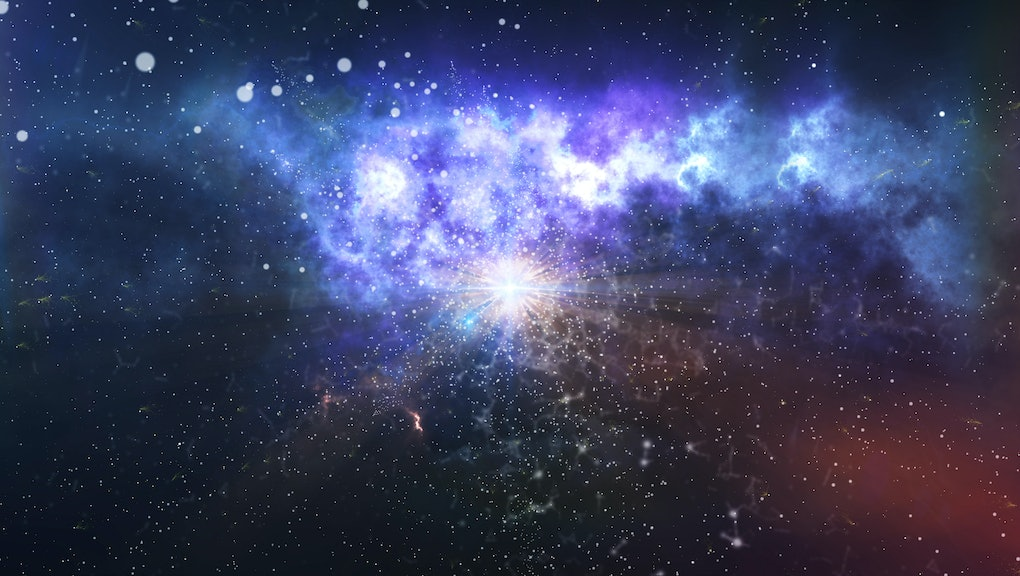Mysterious 3D illustration of the dark matter explosion and creation of the universe with billions of cosmic atoms, flying meteors, a lot of of light elements, and halos of new stars