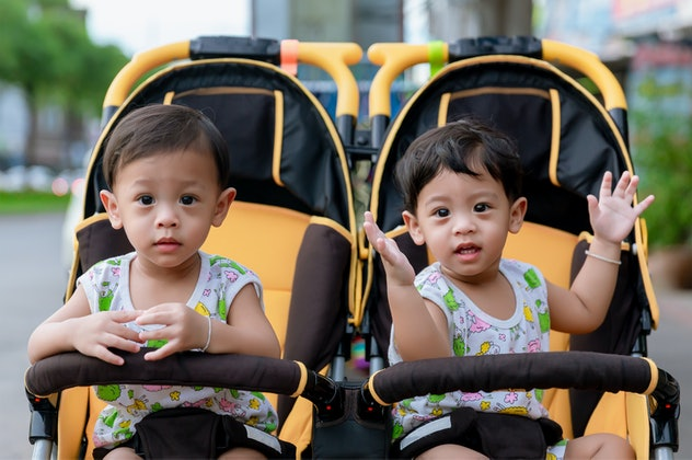 Two brothers sit in a stroller. Adorable twin baby boys sitting in stroller and smiling happily. Chi...