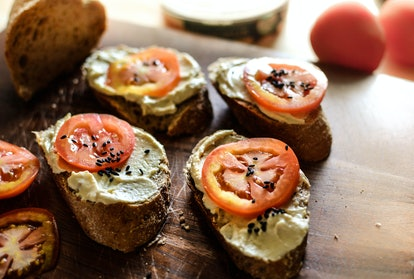 Hummus Toasts with Tomatoes and Black Sesame