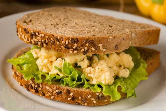 Egg salad sandwich with whole grain bread. Close up, selective focus