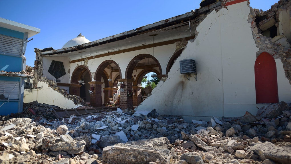 The Immaculate Concepcion Catholic church lies in ruins after an overnight earthquake in Guayanilla, Puerto Rico, . A 6.4-magnitude earthquake struck Puerto Rico before dawn on Tuesday, killing one man, injuring others and collapsing buildings in the southern part of the island