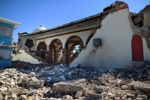 The Immaculate Concepcion Catholic church lies in ruins after an overnight earthquake in Guayanilla,...
