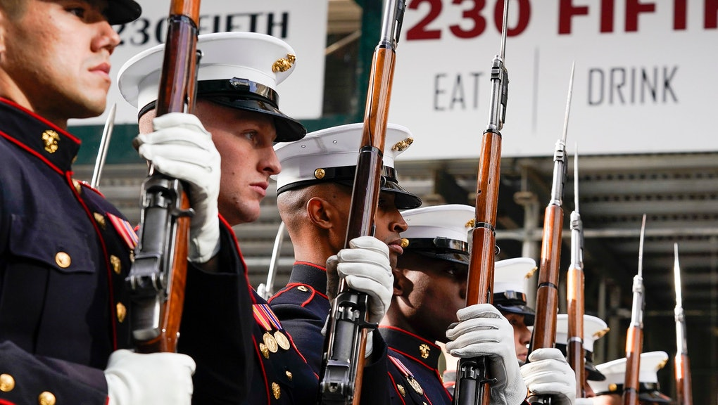 US Marines march in the 2019 New York City Veterans Day Parade in New York, New York, USA, 11 November 2019. This is 100th anniversary of the parade which began at the end of World War I.