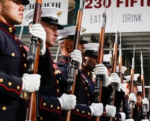 US Marines march in the 2019 New York City Veterans Day Parade in New York, New York, USA, 11 Novemb...