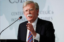 Former National security adviser John Bolton gestures while speaking at the Center for Strategic and...