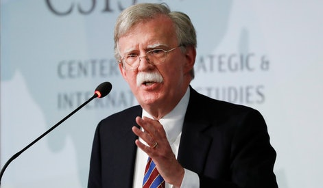 Former National security adviser John Bolton gestures while speaking at the Center for Strategic and International Studies in Washington