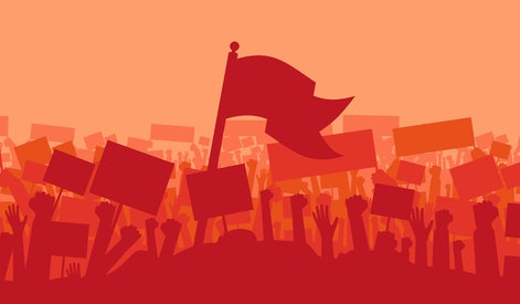 Silhouette of cheering or riot protesting crowd with flags and banners. Protest, revolution, demonstrators or conflict.