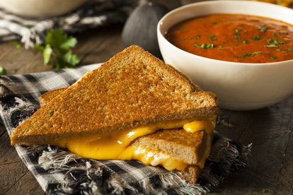 Homemade Grilled Cheese with Trader Joe's Tomato Soup is an easy dinner hack.