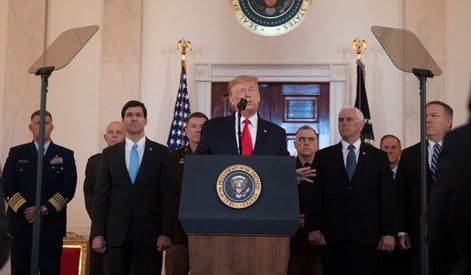 US President Donald J. Trump (C) delivering a statement on the US response to Iranian missile strikes, in the Grand Foyer of the White House in Washington, DC, 08 January 2020. Iran has launched missile strikes against two military bases in Iraq that house US forces, in retaliation to the killing of Iranian Revolutionary Guards Corps Lieutenant general and commander of the Quds Force, Qasem Soleimani, by a US drone strike in Baghdad.