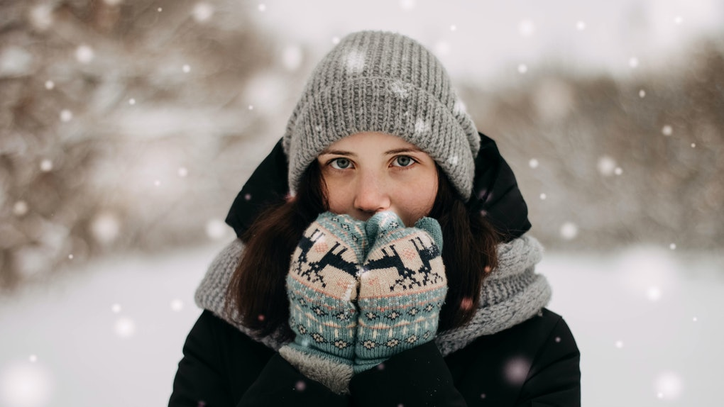 Cute girl with winter background