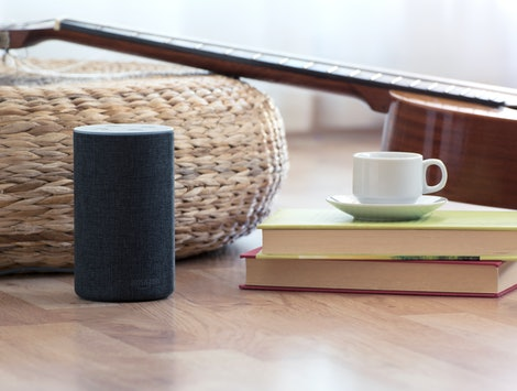 BARCELONA - JULY 2018: Amazon Echo Smart Home Alexa Voice Service in a living room on July 17, 2018 in Barcelona.