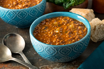 Add pasta to Trader Joe's hearty lentil soup for an easy dinner hack.