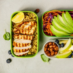 Healthy lunch in boxes