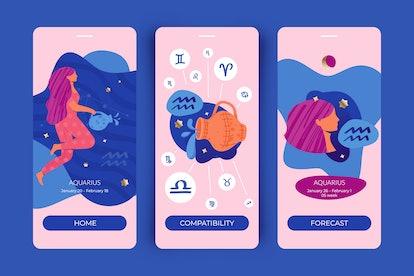 Aquarius zodiac sign. Mobile app screens for horoscopes, astrology applications, websites, predictio...