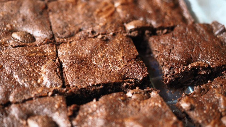 closeup chocolate sheet pan brownies