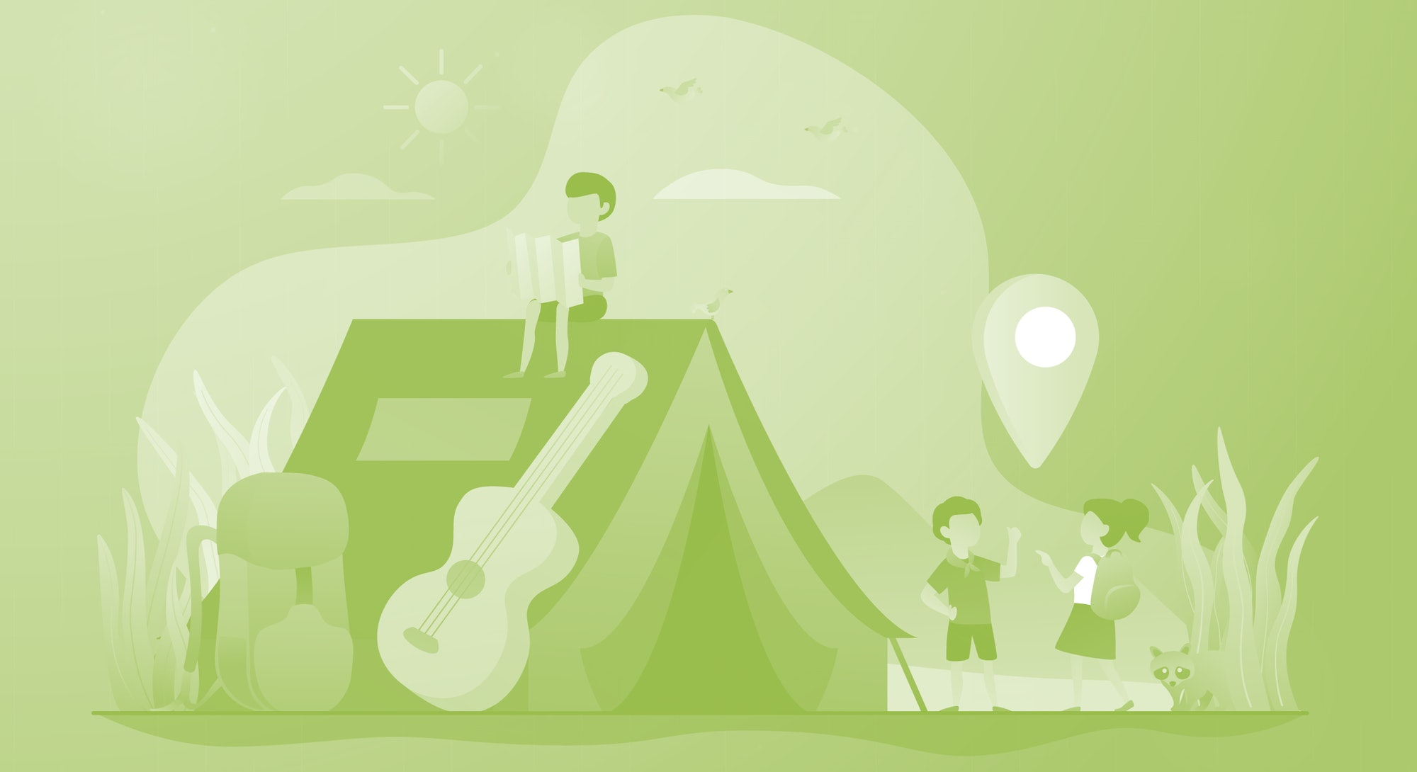 Children camping holiday. Landscape tourism, outdoor recreation, hiking. Tent on nature. Summer camp, sleepaway camp, kids vacation time concept. Vector isolated concept creative illustration