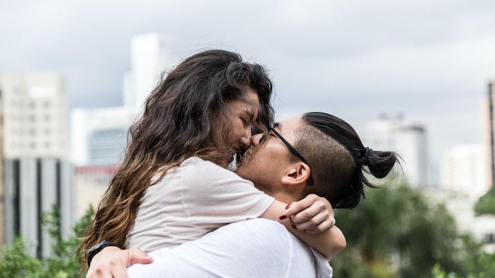 Romantic Asian Couple Meeting/Hugging