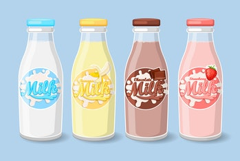 Bottles with strawberry, banana and chocolate milk Label Template. Vector illustration.