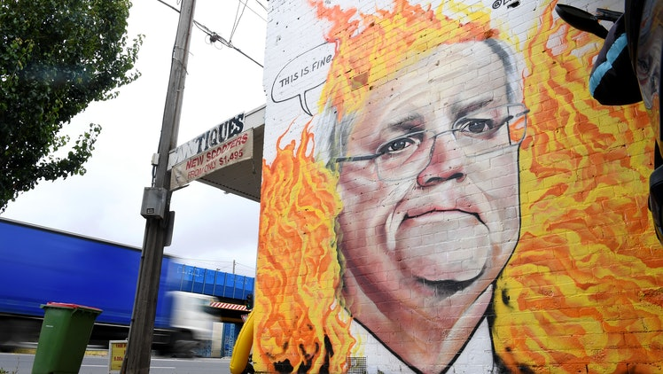 A mural depicting Australian Prime Minister Scott Morrison among bushfire flames is seen in Tottenham, Melbourne, Australia, 07 January 2020. Scott Morrison's handling of the Australian bushfire crisis has been widely criticized along with his government's inaction on climate change.
