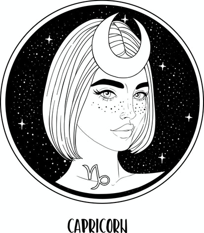 Illustration of Capricorn astrological sign as a beautiful girl. Zodiac vector drawing isolated in black and white. Future telling, horoscope, alchemy, spirituality. Coloring book for adults.