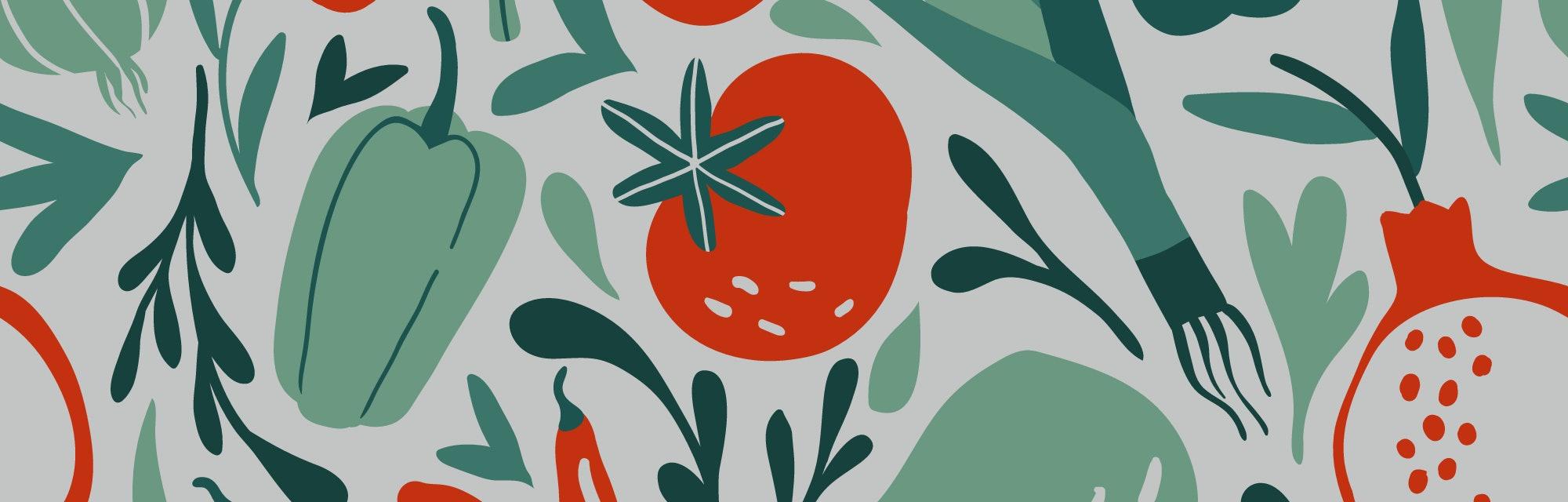 Seamless pattern with hand drawn red and green fruits, berries, vegetables. Flat pepper, tomato, leek, broccoli, garnet, cucumber. Vegetarian healthy food vector texture. Vegan, farm, organic, detox