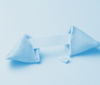 Chinese fortune cookies. Cookies with empty blank inside for prediction words. Blue background