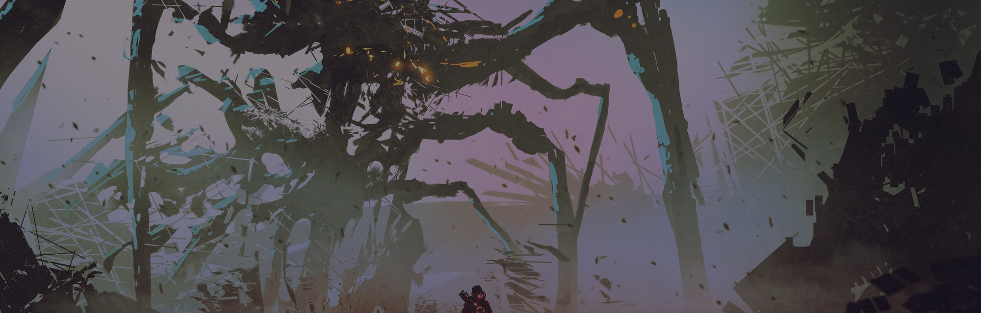 the man facing the giant spider robot, digital art style, illustration painting