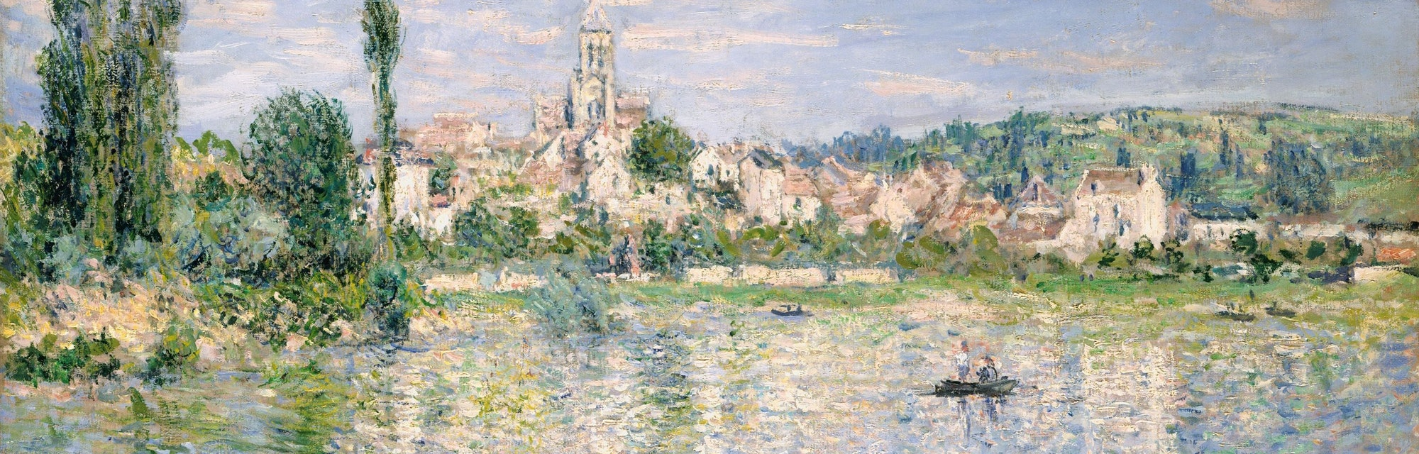Vetheuil in Summer, by Claude Monet, 1880, French impressionist painting, oil on canvas. This painting creates the illusion of flickering reflections of sunlight on the water