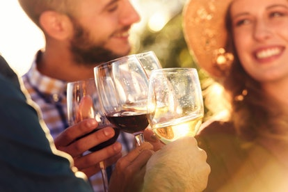 Happy friends having fun drinking wine at winery vineyard - Friendship concept with young people enj...