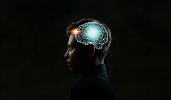 Human head and brain.Artificial Intelligence, AI Technology, thinking concept.
