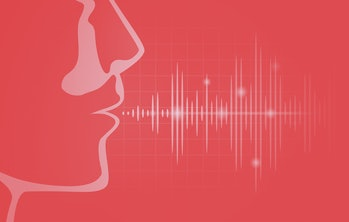Sound wave out of human mouth on black graph. Illustration about level of voice frequency.