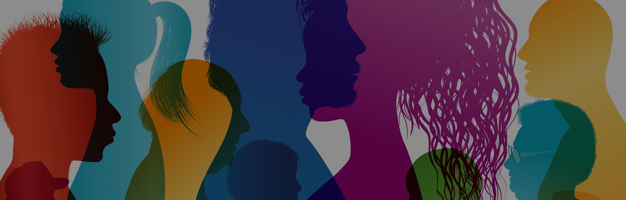 Silhouette profiles of multiracial people. Intercontinental dialogue. Group of people of different ages and nationalities. Multiple exposure vector