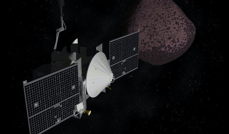 Artist depiction of the OSIRIS REx space probe on it's mission to retrieve a sample from the asteroid Bennu. (3D rendering)