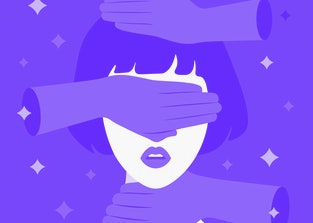 Psychological violence against a woman. The dominant colors in this artistic depiction are red, white, black, and purple. A hand covers the woman's head, eyes, and neck.