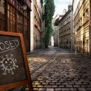 Coronavirus crisis. CLOSED message board near bar, cafe, shop on empty street. Corona virus COVID-19 disease global pandemic outbreak, business impact, isolation, quarantine, stay at home 3D concept