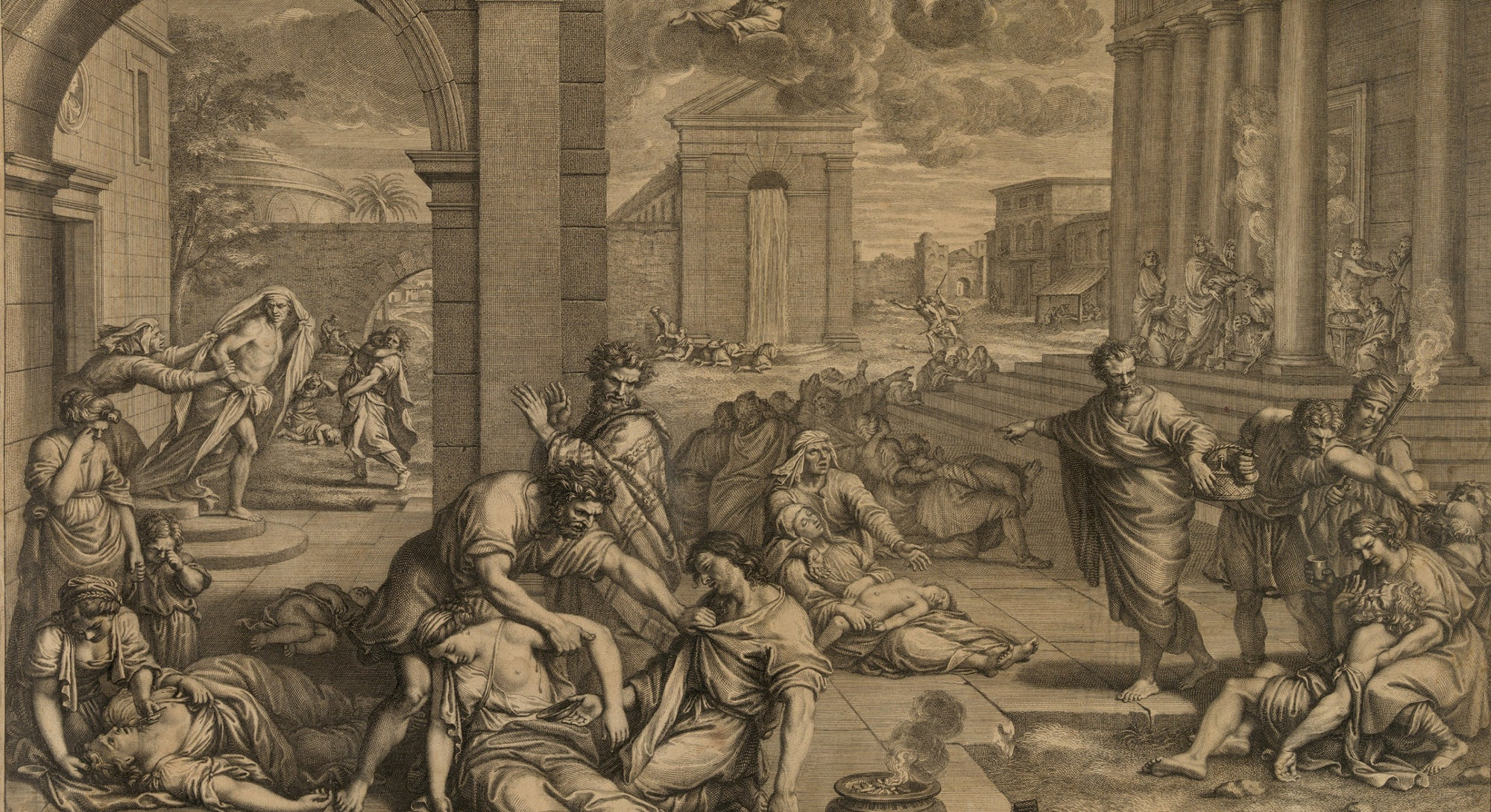 A flying angel spreads God's destruction over classical setting. In the foreground among the dying people and animals is a small furnace used in Europe to cleanse the air of disease vapors.