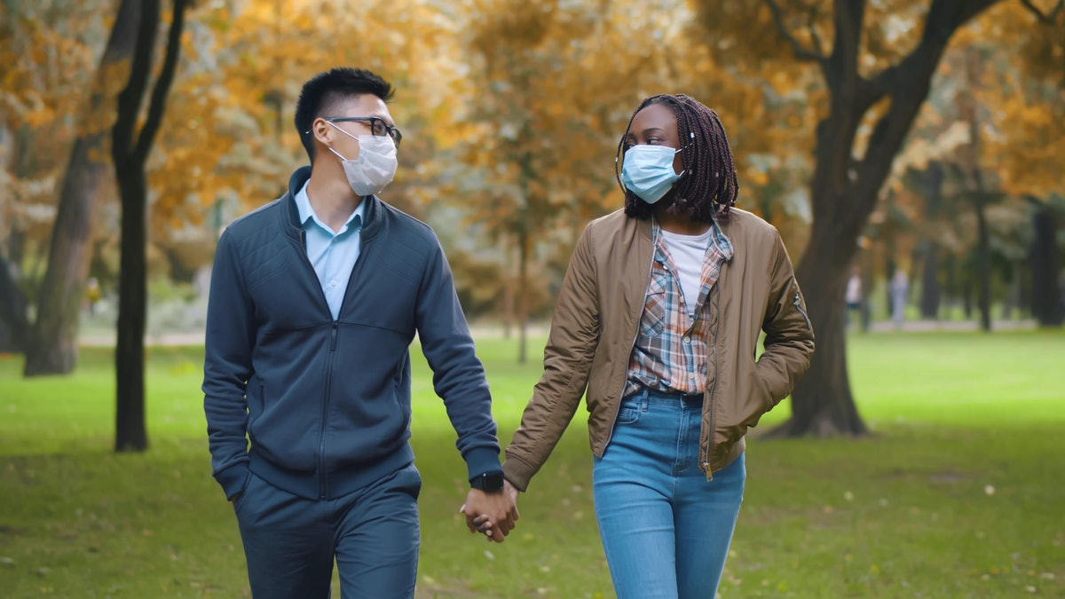 Multiethnic couple in protective masks holding hands walking in park. Lovely diverse man and woman o...