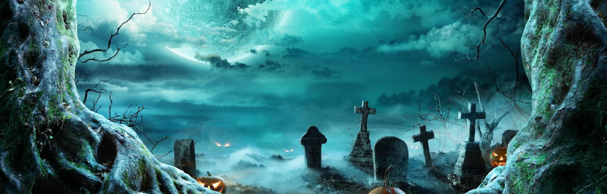 Jack 'O Lantern In Cemetery In Spooky Night With Full Moon - Halloween