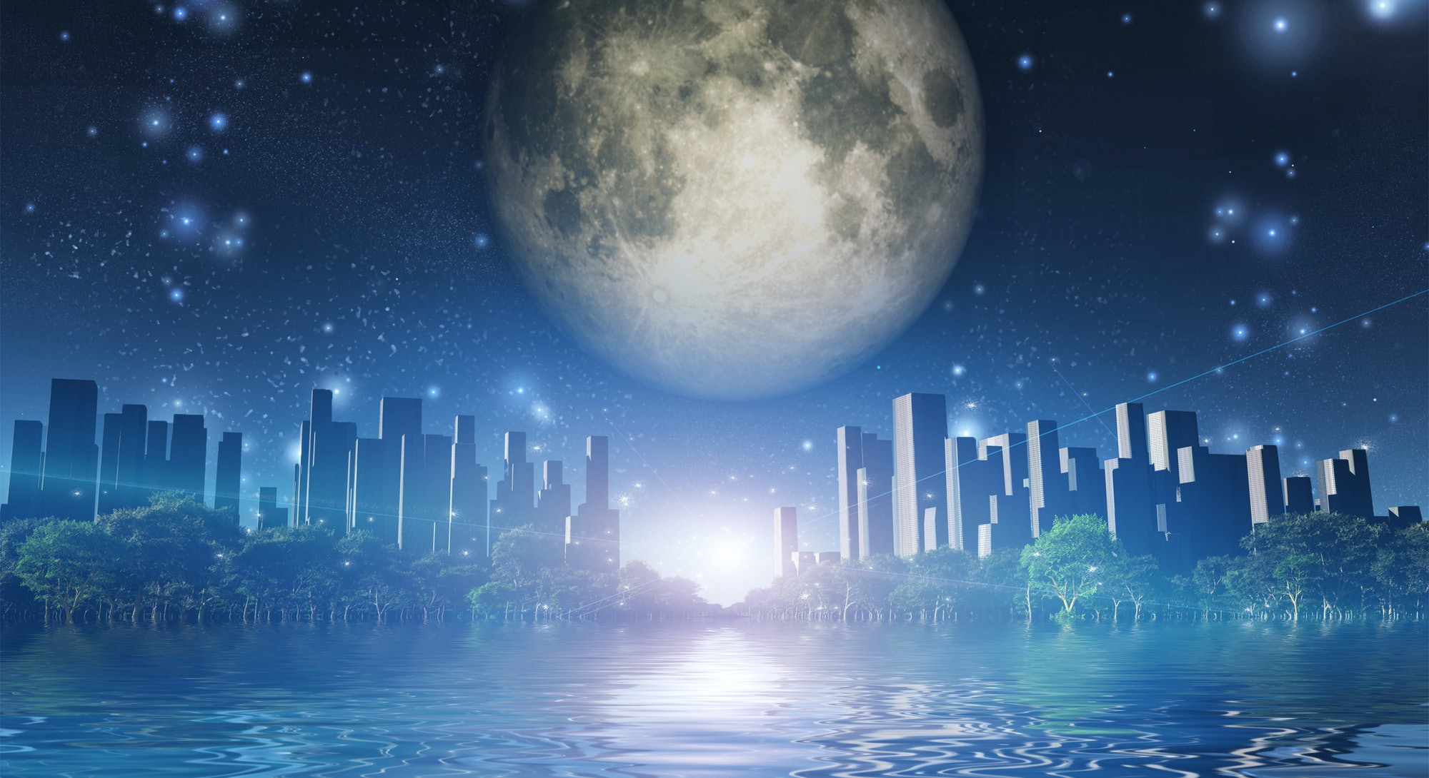 Surreal digital art. City surrounded by green trees in water world. Giant moon in the sky. 3D rendering