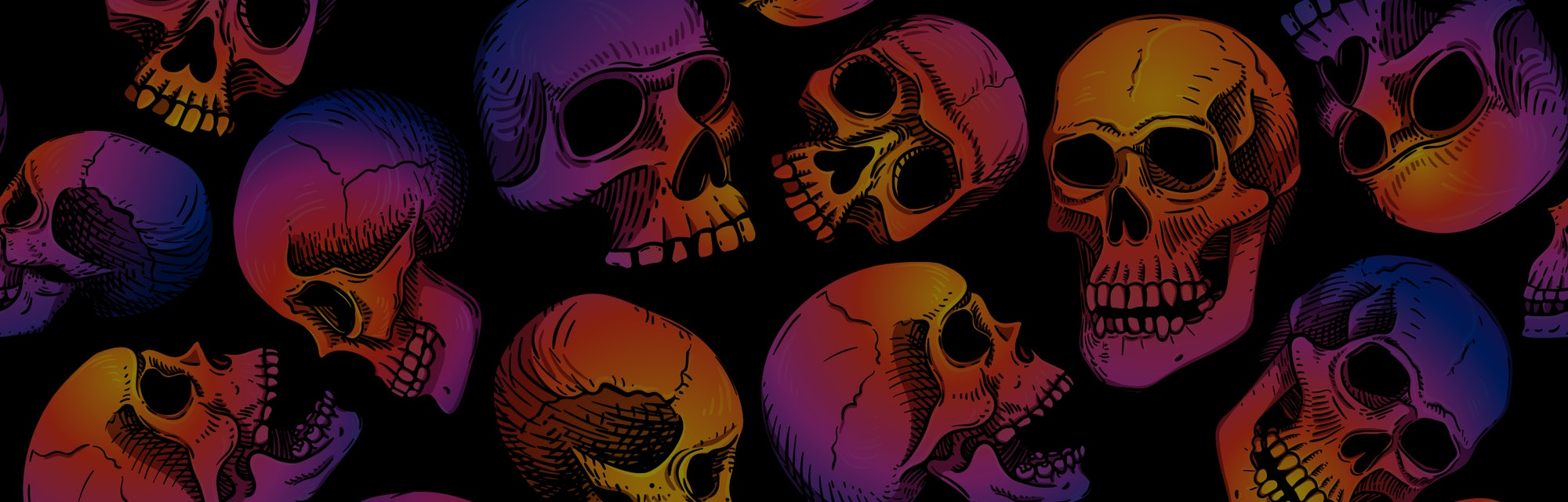Vector seamless pattern with human skulls. Gradient fill, bright trend colors: purple, orange, blue on a black background. Background for Halloween.