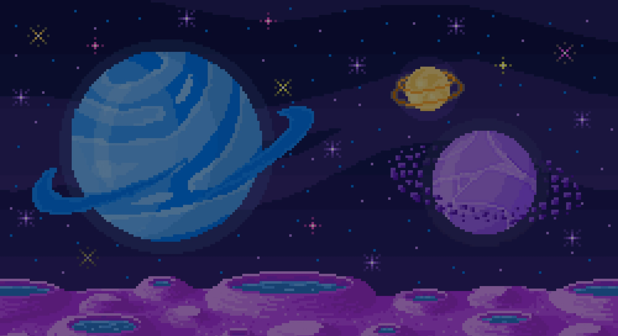 Space planet in pixel art. Background of space planet. Crater landscape with mountains, planet and stars. Pixelated location for game or application. 8 bit video game. Galaxy area with few planets