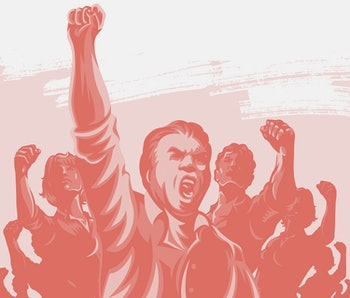 Crowd of People with their hands and fist raised in the air vector illustration. Revolution political protest activism patriotism.