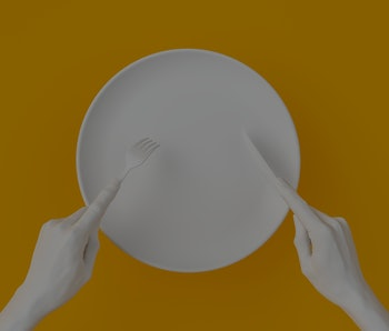 Abstract food restaurant concept banner. Isolated white empty plate, hands holding fork and knife, top view 3d rendering.