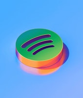 Icon of green spotify on the glossy blue background. 3D illustration of Audio, audio streaming, music isometric icon.