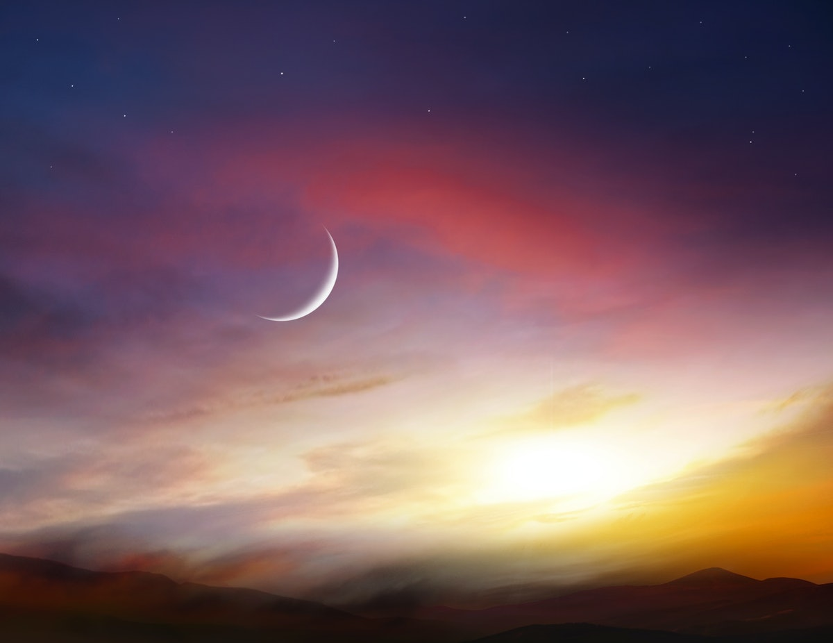 Light from sky . Religion background . The sky at night with stars. New moon . Ramadan background . Prayer time .  Dramatic nature background . Arab night   . eclipse of the moon