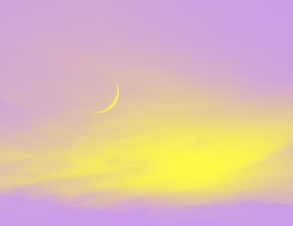 Light from sky . Religion background . The sky at night with stars. New moon . Ramadan background ....