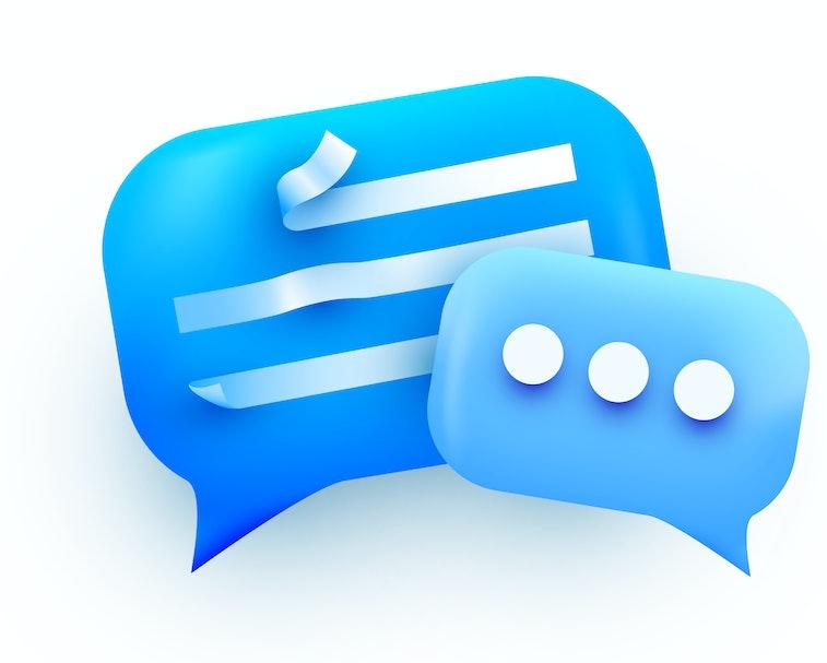 3d Chat bubble. Talk, dialogue, messenger or online support concept. concept. Vector illustration